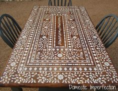 Indian Inlay Stenciled Table - so pretty!