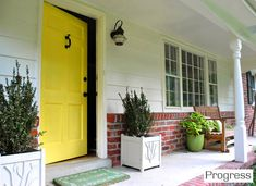 Yellow front door. Front porch inspiration.