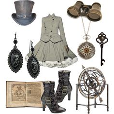 Victorian Grey - for only the most proper steampunk ladies. The color combination of grey and white is just so classy. That dress is fantastic and I like the accessories, though it looks best if you match greys or have another color that coordinates, like a white top hat with a grey band, or use contrast to your advantage, like a teal hat with a white band and matching teal shoes.