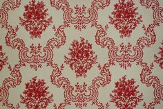 Red and beige damask