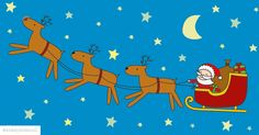 Santa in sleigh with reindeers illustration by http://ankepanke.nl