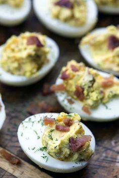 These keto deviled eggs are full of cheddar and bacon. Everyone raves about this recipe and I bet you will too! Deviled eggs is one of my go-to snacks. Deviled Eggs With Cream Cheese Recipe, Keto Deviled Eggs, Devilled Eggs Recipe Best, Egg Recipes, Pork Recipes, Low Carb Recipes, Hot Sauce Recipes, Low Carb Appetizers, High Protein Low Carb