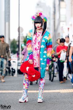 Kawaii Mixed Prints Harajuku Fashion in Tokyo w/ Galaxxxy, Merry Jenny, Yosuke & Handmade Headpiece Japanese Street Fashion, Tokyo Fashion, Harajuku Fashion, Kawaii Fashion, Harajuku Style, Colourful Outfits, Colorful Fashion, Unique Fashion, Fashion Mask