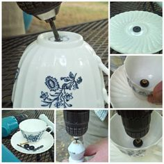 Tea for the birds: DIY teacup bird feeder, You are able to appreciate break fast or various time periods using tea cups. Tea cups also have decorative features. When you go through the tea cup versions, you will dsicover this clearly. Bird House Feeder, Diy Bird Feeder, Teacup Bird Feeders, Teacup Crafts, Craft Projects, Projects To Try, Glass Garden Art, Garden Totems, Outdoor Crafts