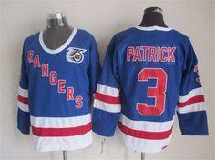 New York Rangers #3 James Patrick Light Blue 75TH CCM Vintage Throwback Jersey