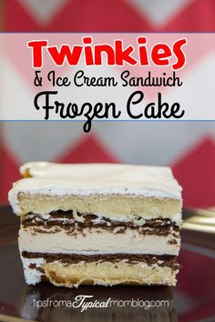 Twinkies and Ice Cream Sandwich Frozen Cake Frozen Twinkies and Ice Cream Sandwich Cake. An easy cake for the hot summer days. No baking required and super quick and easy assembly. Twinkie Cake Recipes, Twinkie Desserts, Köstliche Desserts, Frozen Desserts, Delicious Desserts, Dessert Recipes, Hostess Twinkies, Recipes Dinner, Chocolate Desserts