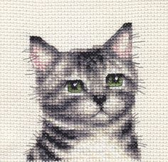 Silver Tabby kitten portrait by Fido Stitch Studio
