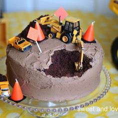 cover up when someone gets to the cake before it's time for dessert. Construction Party