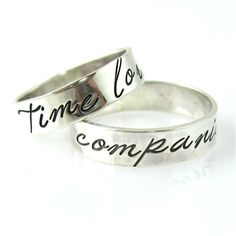Doctor Who Time Lord & Companion Wedding Bands - Spiffing Jewelry In your choice of sterling silver or 10K gold. Allons-y!