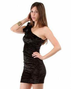 Forever Chic Ruffled Shoulder Velvet Dress