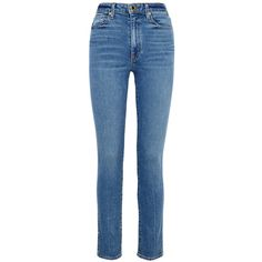 KHAITE Vanessa High-rise Slim-leg Jeans (8.105 CZK) ❤ liked on Polyvore featuring jeans, pants, bottoms, high-waisted jeans, slim fit jeans, khaite jeans, slim blue jeans and faded blue jeans