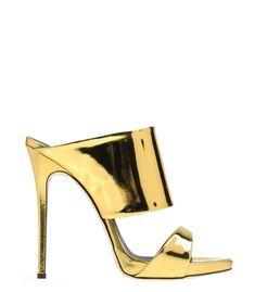 Giuseppe Zanotti Design Gold Metallic Leather Mule