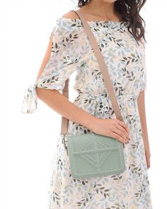 Cross body bag in mint green with decorative details, adjustable/detachable strap, front flap, studs and embossed texture Blue Cross, White Crosses, Black Cross Body Bag, Stripes Design, Mint Green, Pu Leather, Dust Bag, Studs, Crossbody Bag