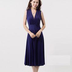 Блондинка мода, летом Пожилая V шеи упругой Big Size длинное платье, D1122 в платье от одежды и аксессуары на Aliexpress.com