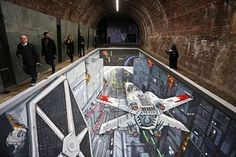 artwork unveiled under Southwark Bridge in London, depicting the classic Trench Run scene from the original Star Wars film trilogy and the new Disney Infinity Video Game. Star Wars Film, Star Wars Art, Disney Infinity, Transformers, Waterloo Bridge, Pavement Art, 3d Street Art, 3d Artwork, Street Culture