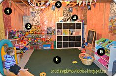 Unfinished basement playroom from creating domestic bliss: Basement Playroom