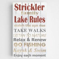 Lake House Sign - Personalized Lake Rules Sign - Kitchen Sign - Canvas Sign for Kitchen - Dining room signs - Lake House Signs, Cabin Signs, Lake Signs, House Rules, Personalized Housewarming Gifts, Personalized Wall Art, Lake Rules, Canvas Signs, Canvas Prints