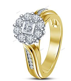 D/VVS1 14K Yellow Gold 925 Silver White Princess Cut Diamond Women's Ring #affordablebridaljewelry #SolitairewithAccents