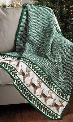 Reindeer afghan, pattern from Crochet World Magazine, December 2013 https://www.anniescatalog.com/detail.html?prod_id=105429&cat_id=1294&source=EPCCW