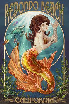 Hey, I found this really awesome Etsy listing at https://www.etsy.com/listing/242435323/redondo-beach-california-mermaid-art