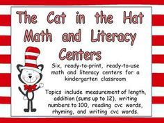 Fun standards-based math and literacy centers for Dr. Seuss's birthday!!