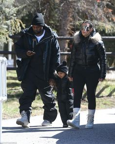 Kim Kanye and North in Vail