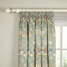 Buy Morris & Co. Strawberry Thief Pair Lined Pencil Pleat Curtains, Duck Egg, x Drop from our Ready Made Curtains & Voiles range at John Lewis & Partners. Free Delivery on orders over Pleated Curtains, Green Curtains, Hanging Curtains, Unique Curtains, Patterned Curtains, Sheer Drapes, Floral Curtains, Types Of Curtains, Open Concept