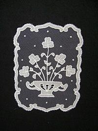 Irish Lace Bowl of Shamrocks: Carrickmacross Lace