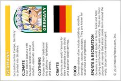 Germany Fact Sheet. Fun facts on Germany, print and then put into your passport. For more countries go to MakingFriends.com