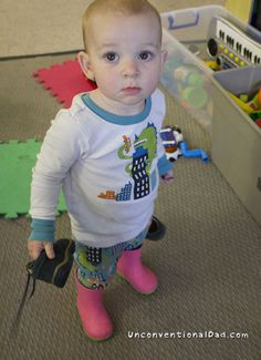 15 months and she knows what's going on - Unconventional Dad Baby Gates, Take A Shower, Infant, Dads, Education, Boots, Crotch Boots, Baby, Fathers