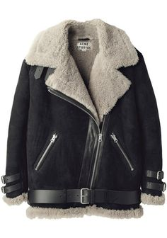 Acne | Sherling must have top buckle/ able to prop collar and make turtle neck and buckle at bottom