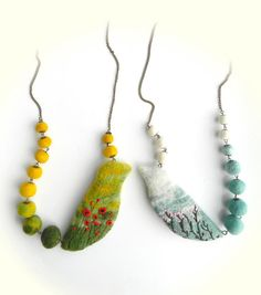 Necklace with felted birds and beads