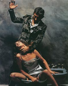 """Serge Gainsbourg and Jane Birkin by Francis Giacobetti for """"Lui"""", December 1974."""