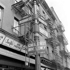 Corner of Middagh and Hicks, Brooklyn Heights, 1946.