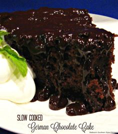 Upside down Slow Cooked German Chocolate Cake made in your slow cooker!