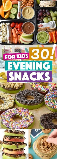 Kids Meals Evening Snacks for Kids - Whether you call it a snack, a treat, or dessert, here are 30 of my top evening snacks for kids. All ideas are made healthier for your little ones! Vegetarian Meals For Kids, Kids Cooking Recipes, Healthy Snacks For Kids, Baby Food Recipes, Kids Meals, Kid Cooking, Jello Recipes, Kid Recipes, Whole30 Recipes