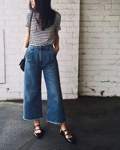 Denim culotte, striped t-shirt and black flats  [ #denimculotte #stripes #flats ]