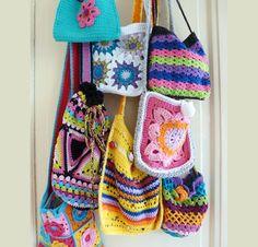 Crochet bags Kleurrijke tassen Snel en makkelijk te maken van restgaren