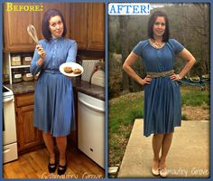 Gallimaufry Grove: Granny Blue Dress Refashion  -- turn an outdated dress something hip
