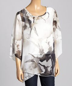 Fall DS Gray & White Abstract Layered Blouse by OneWorld #zulily #zulilyfinds