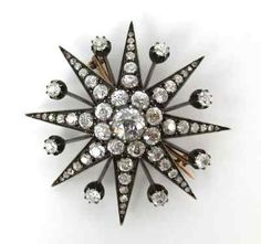 Edwardian 4.0ct Diamond Silver & Gold Star Brooch