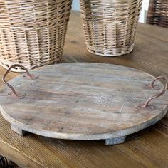 Wooden Serving Trays, Wood Serving Trays, Round Wood Serving Trays, Round Wooden Serving Trays, Round Wooden Serving Tray With Metal Handles, Round Wood Serving Tray With Metal Handles