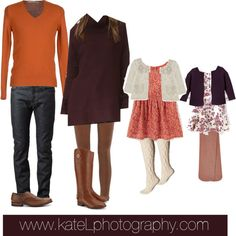 Coordinated family outfits for fall family photos, featuring the harvest color palette. Outdoor Family Portraits, Fall Family Portraits, Fall Family Photos, Fall Family Photo Outfits, What To Wear, Tory Burch, Fashion Looks, Photoshoot, Harvest