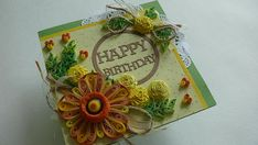 Quilling Happy Birthday Card. Quilling is an art form that involves the use of strips of paper that are rolled, looped, curled, twisted and otherwise manipulated to create shapes which make up decorated designs. ♦ Size of card: 150x150 mm. ♦ Has blank white liner inside for your own