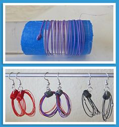 "3Doodler Earrings by Mary Ann Rolfe   I started by wrapping ABS around a 1 1/4"" acrylic rod.  The blue tape is to anchor the ABS starting point.  Keep the 3Doodler still while circling the rod in your other hand to capture the plastic.  Slow sped works best. It takes a little practice.   To make the top piece I needed a hollow tube with an embedded 1/2 ring to attach the earring findings.(see sketch).   The finished earrings above show the top piece made from polymer clay.  Here's one made…"