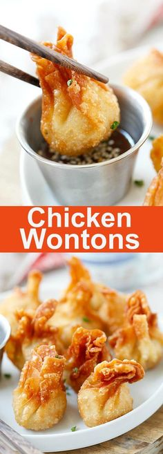 Chicken wontons – easiest and the best fried chicken wontons ever! Takes 20 mins to make including wrapping. Super crispy and yummy, get the easy recipe | http://rasamalaysia.com