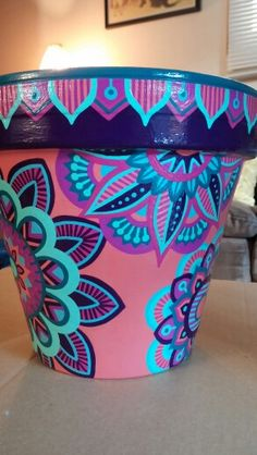 Hand painted terracotta pot Painted Clay Pots, Painted Flower Pots, Painted Vases, Hand Painted, Plant Crafts, Flower Pot Crafts, Clay Pot Crafts, Pottery Painting, Ceramic Painting