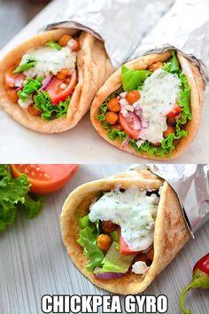 Vegetarian Gyro Recipe, Vegetarian Sandwich Recipes, Vegetarian Recipes Videos, Greek Recipes, Easy Healthy Recipes, Keto Recipes, Dinner Recipes, Easy Meals, Cooking Recipes