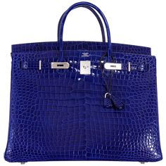 Hermes Birkin Bag 40cm Blue Electric Porosus Crocodile IMPOSSIBLE FIND! | See more vintage Top Handle Bags at https://www.1stdibs.com/fashion/handbags-purses-bags/top-handle-bags in 1stdibs