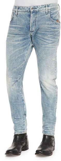 $280, G Star Bleached Arc 3d Slim Denim Jeans Light Blue by G Star. Sold by Neiman Marcus. Click for more info: http://lookastic.com/men/shop_items/137623/redirect
